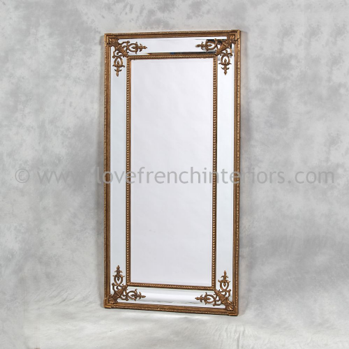 Gold French Tall Slim Mirror